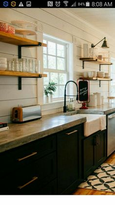 Supreme Kitchen Remodeling Choosing Your New Kitchen Countertops Ideas. Mind Blowing Kitchen Remodeling Choosing Your New Kitchen Countertops Ideas. Black Kitchen Cabinets, Black Kitchens, Kitchen Shelves, Kitchen Redo, New Kitchen, Cool Kitchens, Open Shelves, Kitchen Black, Ship Lap Kitchen