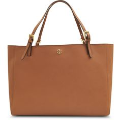 Tory Burch York Buckle Tote (€300) ❤ liked on Polyvore featuring bags, handbags, tote bags, purses, bolsas, accessories, brown leather purse, leather shoulder handbags, tory burch tote bag and leather shopper tote