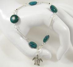Bracelet palets chrysocolle, tubes métal argentés, tortue, en métal argenté : Bracelet par long-nathalie
