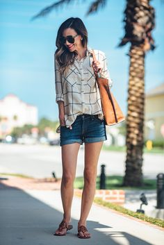 LARGE CHECK BUTTON UP + ROLLED DENIM SHORTS | Sequins & Things