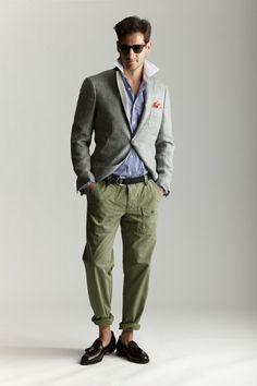 Light Gray Blazer + Blue Shirt + Green Pants