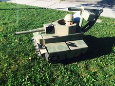 Halloween baby stroller or anything with wheels. Tiger Tank cardboard. My 3 yr old daughter  Charly manning the tank.