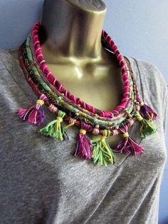 Diy Jewelry : Spirit of Janis- Tassel and Scrap Textile Beaded Bib Statement Necklace Fabric Necklace, Diy Necklace, Necklaces, Necklace Ideas, Jewelry Crafts, Jewelry Art, Jewelry Design, Textile Jewelry, Fabric Jewelry