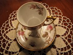 Vintage Tea Cup and Saucer set hand painted flower