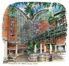 Sick Childrens Hospital, Toronto, Canada by Artist Illustrator David Crighton Art Kids Hospital, Childrens Hospital, High Contrast Images, Recognition Awards, Medical Art, Downtown Toronto, Sick Kids, Glass Wall Art, Bond Street