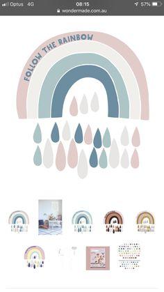 Rainbow decal. Wondermade fabric decals Kids Wall Decals, Rainbow, Trends, Fabric, Baby, Home Decor, Rain Bow, Tejido, Babies