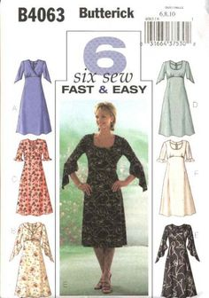 Butterick+Sewing+Pattern+4063+Misses+Size+18-20-22+Easy+Empire+Raised+Waist+Dress