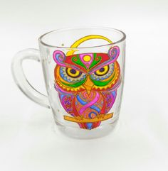 Owl Mug Hand Painted Gift Coffee Tea Handmade Stained