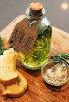 Homemade rosemary infused olive oil.