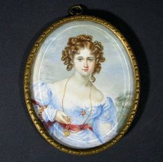 Fine Antique Miniature Portrait Painting of Beautiful Young Lady w/ Jewelry: