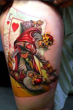 King Of Hearts Fighting Tattoo I Normally Don T Like This Fighting Tattoos Joker Tattoos, King Tattoos, Skull Tattoos, Tattoo Foto, 1 Tattoo, Tattoo Flash, Sick Tattoo, Tattoo Crown, Tattoo Life