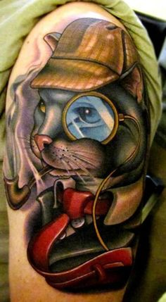 Sherlock by Timmy B a tattooer at Black 13 Tattoo Parlor located in Nashville, Tennessee. Tattoo You, Love Tattoos, Picture Tattoos, Cat Tattoos, Awesome Tattoos, Tattoo Time, Tatoos, Black 13 Tattoo, Detective