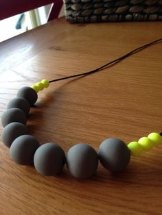 Polymer clay necklace charcoal with fluoro by AllsKnotForgotten, $35.00