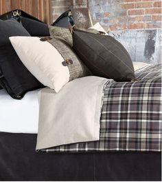 Grey & Black Plaid Bedding Sets. Barclay Butera Bedding - Rustic Lodge Guest Room Decor, Bedroom Decor, Bedroom Ideas, Master Bedroom, King Comforter, Comforter Sets, Ski Lodge Decor, Diversity, Eastern Accents