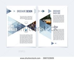 Set of business brochure template layout, cover design annual report, magazine, flyer or booklet in A4 with blue grey dynamic triangular geometric shapes on white background. Vector Illustration.