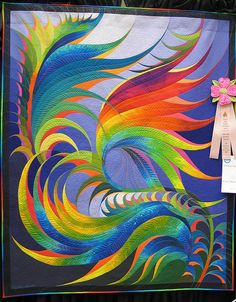 Feather Study #30 by Caryl Bryer Fallert. Winner of 2009 AQS Machine Workmanship Award, Wall Quilt, via Flickr.