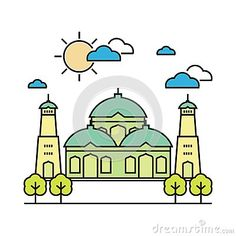 Islamic art with flat design, grass, and trees in front of mosque Prayer Position, Flat Design, Islamic Art, Mosque, Ramadan, Timberland, Grass, Decoration, Drawings