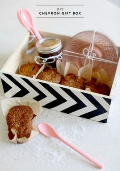 DIY chevron gift box :: gift basket idea