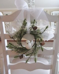 Junk Chic Cottage: Christmas Decor From The Past Year 2012 Christmas Chair, Cottage Christmas, Christmas Love, Christmas Design, Rustic Christmas, Christmas Holidays, Christmas Wreaths, Christmas Decorations, Holiday Decor