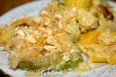 Classic squash casserole made with summer squash, seasoned with bacon and onion, and tossed with cheese, eggs, mayonnaise, sugar, a generously sprinkling of salt and pepper and baked with a cracker topping.