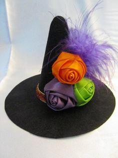 mini witch hat witch headband halloween flower by lexicouture, $14.95