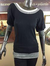 Trina Turk Shirt Black And White Stripped Medium 3/4 Sleeve Boat Neck Top M