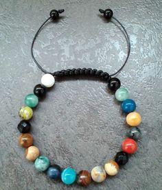 Men's Bracelet 8mm stone Bead wristband shamballa jewelry gift beaded gems charm #Handmade #Shamballa