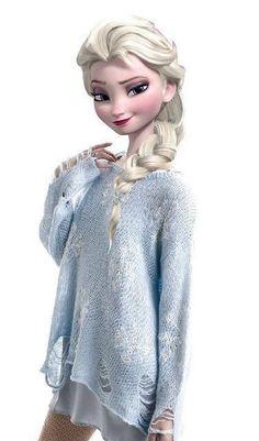 Modern Queen Elsa - Blue Snowflake Sweater by drpepperswife on DeviantArt Disney Princess Fashion, Disney Princess Drawings, Disney Princess Pictures, Disney Princess Art, Disney Fan Art, Disney Pictures, Disney Princesses, Princess Diana, Princesa Disney Frozen