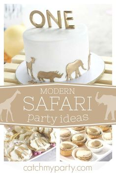 Check out this modern Safari birthday party! The white birthday cake decorat… - Birthday Cake Blue Ideen Jungle Birthday Cakes, Jungle Theme Cakes, Boys First Birthday Cake, White Birthday Cakes, Safari Cakes, Wild One Birthday Party, Boy Birthday Parties, Birthday Ideas, Safari Party