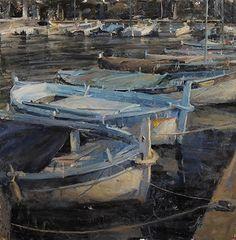 Love the range of blues in this Old Harbor in Cap Ferrat - Oil by Derek Penix