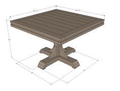Ana White   Build a Square Pedestal Table   Free and Easy DIY Project and Furniture Plans