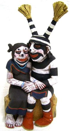 "Hopi Carved 10.5"" Clowns on Bench Kachina Doll Sculpture by Neil David Sr"