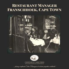 New Job Opening: Restaurant Manager in Franschhoek, South Africa Restaurant Manager, Apply Online, Job Opening, New Job, Appointments, A Team, Wines, Searching, Cape