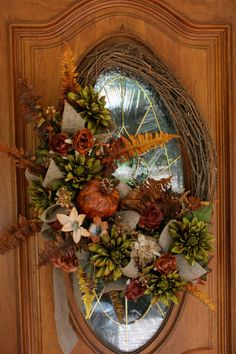 Large Fall Wreath Traditional Colors by ThePetalPeddlers on Etsy, $68.00