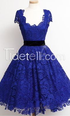 2015 New Homecoming Dress A-line Scoop Knee-length Lace Homecoming Dresses Sash Royal Blue Cap Sleeves
