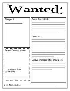 Great for mystery books! Students become a detective seeking the suspect that committed the crime in the book. Students must determine what the crime (problem), crime scene. Science Experiments Kids, Science For Kids, Book Club Books, The Book, My Little Kids, Detective Party, Tennis Funny, 4th Grade Writing, English Activities