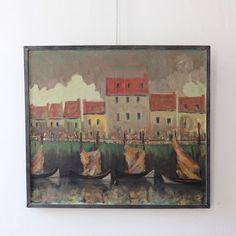 Charming French early 20th century harbour scene painting from Puckhaber and for purchase on the Decorative Collective website