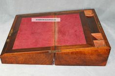 Antique Burl Walnut Portable Traveling Secretary Writing Desk Box Wood Slope Lap