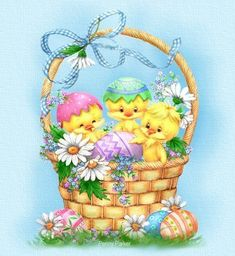 Happy, silly chicks in an Easter basket.  By Penny Parker.