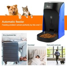 WOpet Automatic Cat Feeder Pet Feeder Auto Dog Cat Feeder Stainless Steel BowlPortion Control and Voice Recording – Timer Programmable Up to 4 Meals a Day *** You can learn even more details at the web link of the photo. (This is an affiliate link). Elevated Dog Bowls, Raised Dog Bowls, Automatic Cat Feeder, Dog Feeding Station, Best Cat Food, Pet Food Storage, Dog Feeder, Cat Feeding, Cool Cats