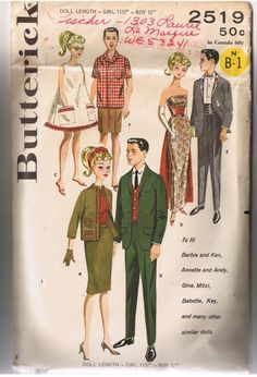 1960 clothing pattenrns recreations | 1960s Butterick Doll Clothes Pattern, Boy and Girl Teenage Doll ...