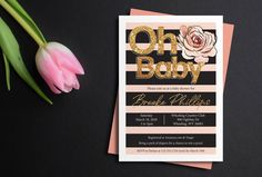 Glitter Baby Shower Invitation, Pink & Black shower invitation, floral baby shower, printable invite, baby girl invitation, printed cards