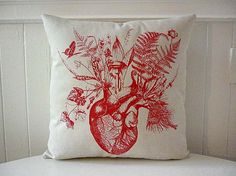 Items similar to Growing human heart silk screened cotton canvas throw pillow 18 inch red on Etsy Heart Cushion, Heart Pillow, Anatomically Correct Heart, Anatomical Heart, Human Heart, Color Swatches, Sacred Heart, Heart Art, My New Room