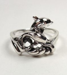 STERLING SILVER NAUTICAL TWIN SURF RIDER DOLPHINS SEA LIFE PROMISE RING SIZE 9