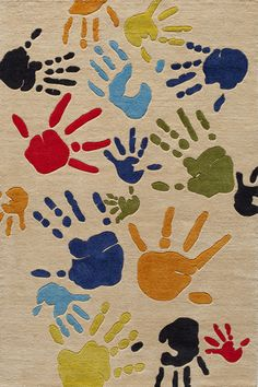 Lil Mo Whimsy LMJ-17 Fingerpaint Ivory Area Rug by Momeni - Childrens Rugs - momeni-lilmowhimsy-lmj17-ivory
