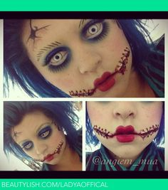 Scary & Creepy special effects Doll makeup Idea / Pairs nicely with All-white zombie contact lenses => http://www.pinterest.com/pin/350717889705763104/