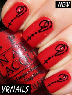 YRNails Nail Art Water Transfers Decals - Rosary Beads - S076