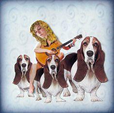 basset hound dog portrait animal art dog art blue by PetCollage, $22.00