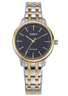 ZHHA Women's 068 Casual Quartz Black Dial Gold Stainless Steel Bracelet Wrist Watch Waterproof