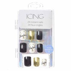 <P>This set of false nails is literally flawless and add instant glam to your fingers. Designs include: solid black, metallic gold, and white with 'flawless' written in black cursive.</P><UL><LI>Set of 24 nails in various sizes<LI>Square cut<LI>Includes nail glue</LI></UL>